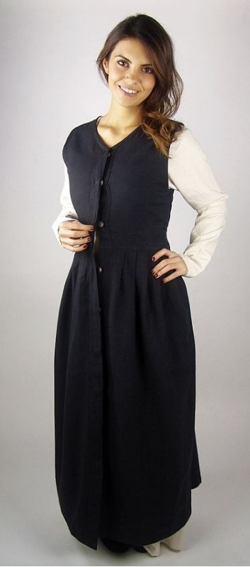 Black Sleeveless Renaissance Dress - Costume