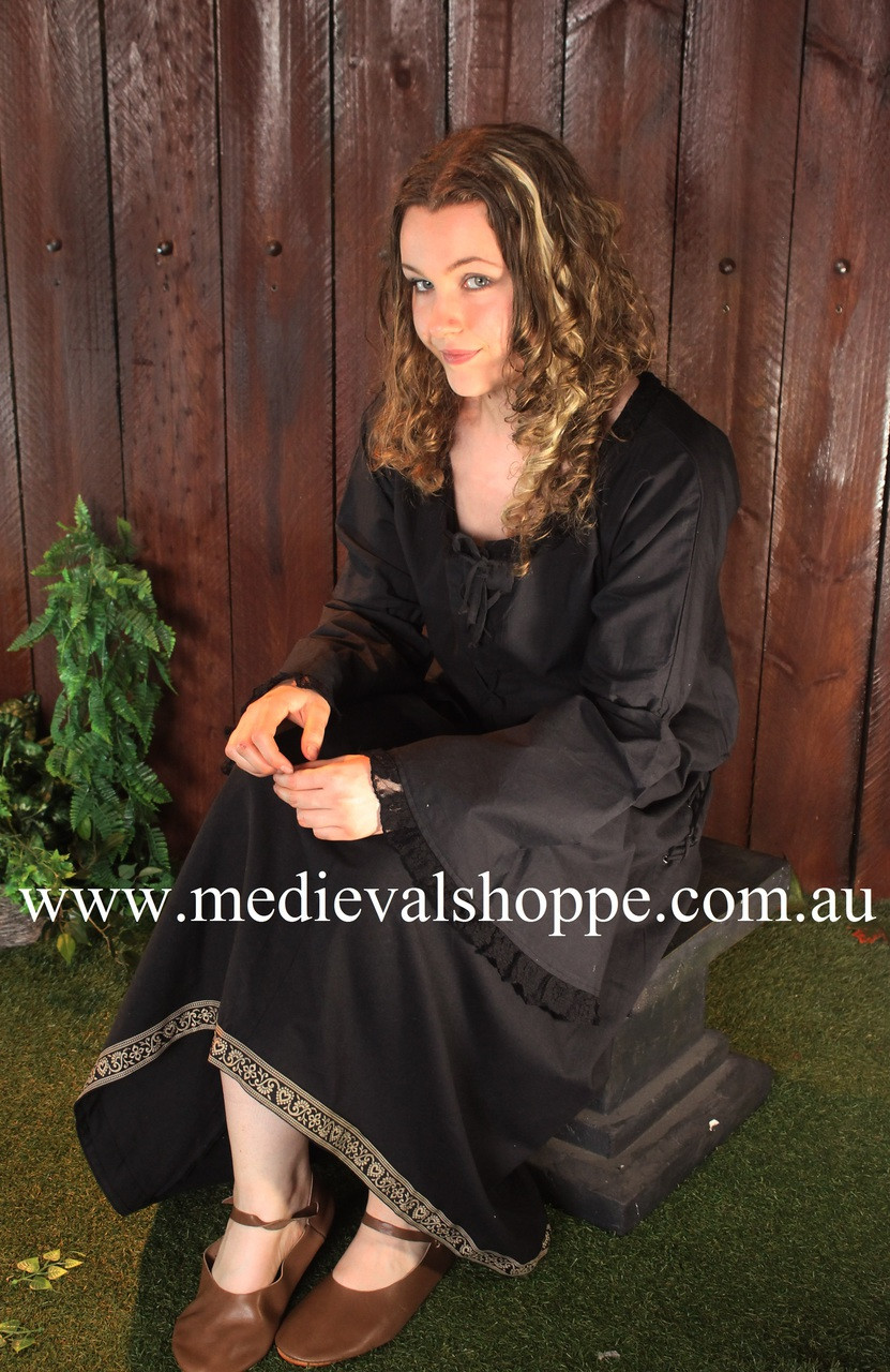 17th or 18th Century Wench Blouse (Black) Steampunk Blouse
