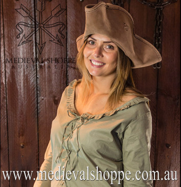 17th or 18th Century Wench Blouse (Green) Girl Pirate Costume