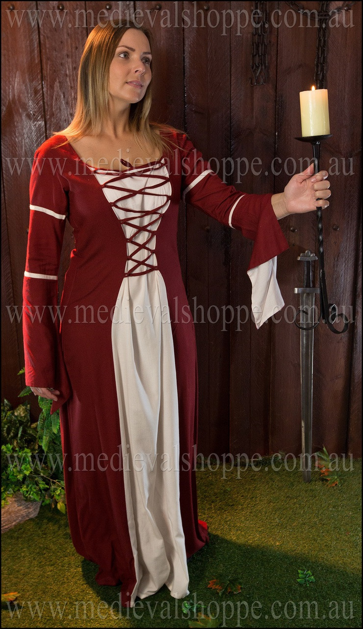 Red & White Medieval Dress - Gown - Costume