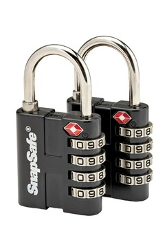 "SnapSafe TSA Approved 4 Digit ""Thick Shackle"" Luggage Combination Padlock"