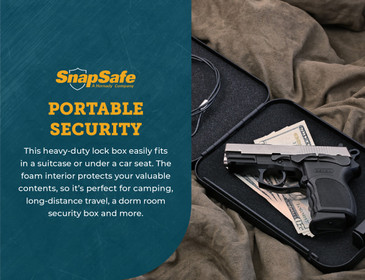 SnapSafe Keyed Alike Lock Box, Large 75201, 2-Pack Portable Metal Handgun Safe & Case, TSA & CA DOJ Approved
