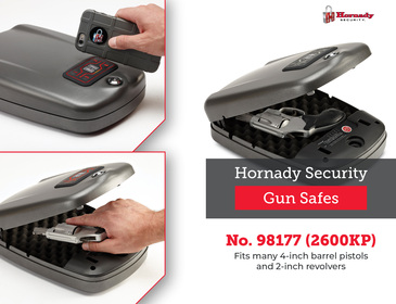"""Hornady RAPiD Safe 2600KP Large 98177, Handgun Security Safe, TSA & CA DOJ Approved, Measures 7"""" x 7.7"""" x 2.2"""", Touch-Free Entry"""