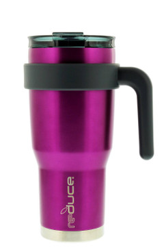 reduce HOT-1 Vacuum Insulated Mug with Slender Base, 3-in-1 Lid & Ergonomic Handle - Tasteless and Odorless Metallic Finish