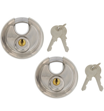 SnapSafe (2 PACK) Stainless Steel Round Disc Padlocks, Ideal for Storage Units or Trucks, Includes 2 Locks Keyed Alike