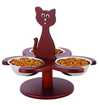 Pet Store Wooden Multi-Cat Raised Feeder with 3 Metal Bowls