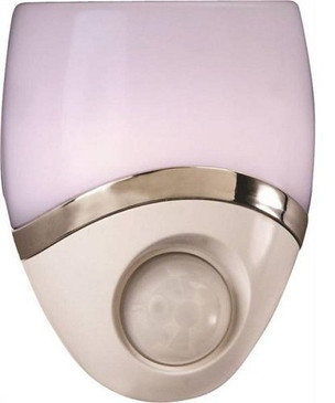 Motion-Sensor LED Night Light – Plug-In LED Lights Turn on When Sensor Detects Motion – Ideal for Bedroom, Bathroom, Hallway, Nursery, Garage, Stairs – White / Nickel Finish - 73092CC