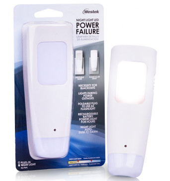 Westek LED Power Failure Light, Flashlight and Battery Back-Up Night Light - Ideal for Blackouts and Power Outages