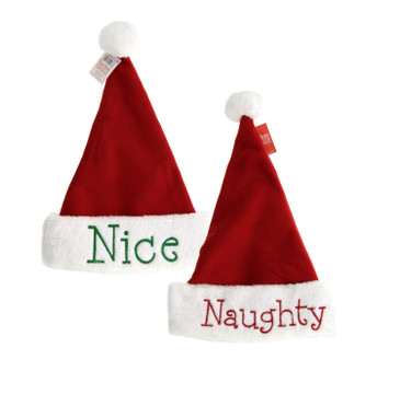Naughty or Nice Santa Hats - Festive Holiday Christmas Hats with Hand Stitched Naughty in Red on one side and Nice in Green on the other- Reversible - Perfect Gift for Family or Friends