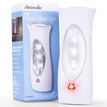 AMERELLE LED Power Failure Light - A Backup Plug-In Emergency Preparedness Flashlight - Portable/Rechargeable - Ideal for Use Throughout Your Home for Night Power Failures - 71134CC