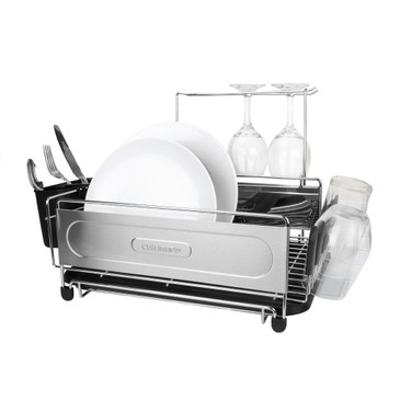 "Cuisinart Stainless Steel Dish Drying Rack, Includes Wire Dish Drying Rack, Utensil Caddy, Draining Board, Stemware Holder, and Non-Slip Cup Holders, 14.4"" x 12"" x 6""- Stainless Steel/Black"
