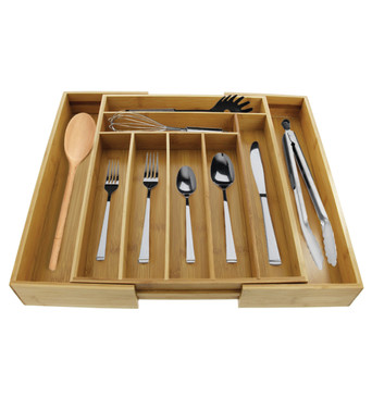 Cuisinart Bamboo Utensil Drawer Organizer – This Expandable Silverware Organizer Has 9 Compartments – Keep Flatware and Utensils Organized – Adjustable Width Up to 21.6 Inches