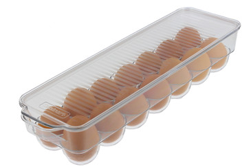 Cuisinart Egg Holder with Lid and Handle, Holds – This Egg Container is a Must-Have Space Saver for Your Refrigerator – See-Through, Stackable, BPA Free – Measures