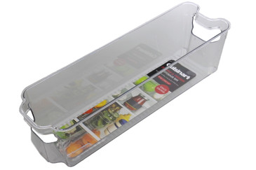 Cuisinart Freezer and Fridge Organizer Bins – Plastic Organizer Bin, Ideal for Storing Jars and Condiments – Built-In Handle, Stackable, BPA Free
