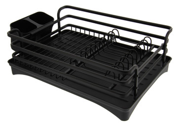 Cuisinart Aluminum Rust Proof Dish Drying Rack – Includes Wire Dish Drying Rack Removable Tray with Swivel Draining Spout, and Utensil Caddy, Kitchen Counter Organizer