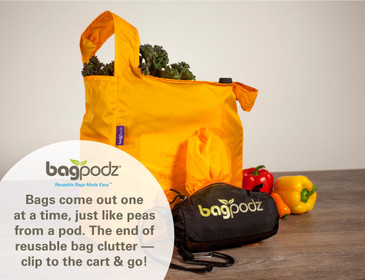 BagPodz Reusable Shopping Bags – Includes 10 Foldable Bags Inside a Compact Pod with Carry Clip – Super Strong Nylon Reusable Shopping Bags Hold up to 50lbs – Washable & Easy to Use- Saffron Yellow