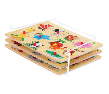 Wooden Puzzles For Toddlers by Etna Products – Colorful Peg Puzzles with Bonus Puzzle Rack, Ideal Fun and Educational Toys for 1 to 3 Year Olds