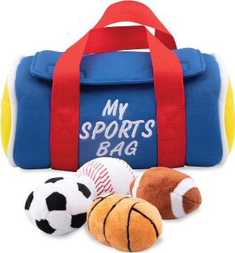 Etna My Sports Bag, Plush Toy Play Set - Toddler Sensory Toys with Plush Balls that Make Sports Sounds and Cheers -Includes Sports Bag Plush Basketball Plush Baseball Plush Soccer Ball Plush Footbal