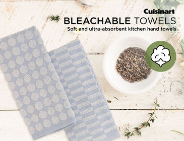"""Cuisinart 100% Cotton Kitchen Hand Towels, 2pk - Soft and Absorbent Kitchen Towels Perfect for Drying Dishes and Hands-Hygienic Bleachable Kitchen Towels Perfect for Everyday Use, 16 x 27"""""""