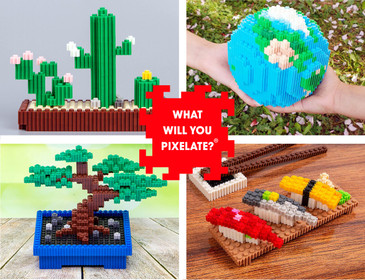 Pix Brix Pixel Art Puzzle Bricks – Starry Night Pixel Puzzle – Patented Colorful Building Bricks, Create 2D and 3D Builds Without Water, Iron or Glue – A Fun Pixel Art Set for Adults and Kids