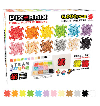 Pix Brix Pixel Art Puzzle Bricks – 6,000 Piece Pixel Art Container, 12 Color Palette – Patented Interlocking Building Bricks, Create 2D and 3D Builds Without Water, Iron, Glue – Ages 6 Plus