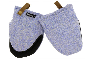 Cuisinart Chambray Neoprene Kitchen Accessories, 2pk - Non-Slip Heat Resistant Oven Gloves, Potholders with Premium Insulation, Protect Hands and Surfaces-Ideal Kitchen Set with Faux Leather Loop