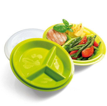 Precise Portions 2-Go Healthy Portion Control Plates - BPA-Free, 3-Section Plate with Leak-Proof Lids, Dishwasher & Microwave Safe, Helps Manage & Lose Weight, Metabolism & Blood Sugar
