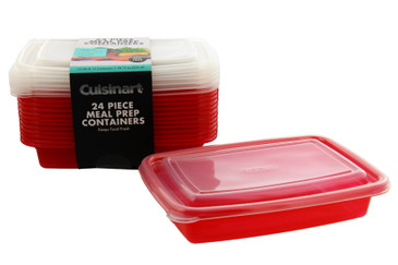 Cuisinart Meal Prep Containers, 24 Piece, Set of 12 BPA Free Food Storage Containers with Lids-Reusable, Stackable Bento Box Containers-Microwave, Dishwasher, Freezer Safe-Red, 28.75oz