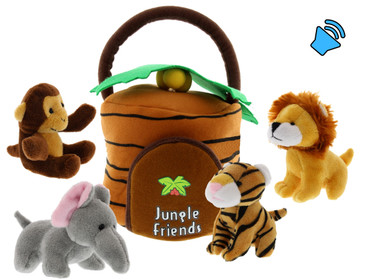 Circus or Jungle Animals Talking Plush Baby Toy – 5 Piece Small Stuffed Animals Set - These Mini Toys are Ideal for Boys and Girls