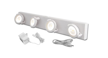 Rite Lite Under Cabinet LED Light – Track Style Under Cabinet Light – Battery Operated or Use Direct AC Power Cable – White LPL704W-AC