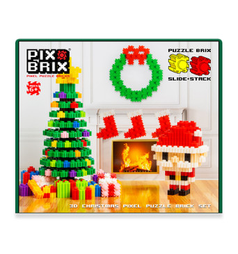 Pix Brix Pixel Art Puzzle Bricks – Christmas Scene Pixel Puzzle with Display Box – Patented Colorful Building Bricks, Create 2D and 3D Builds – A Fun, Festive Pixel Art Set for Kids and Adults