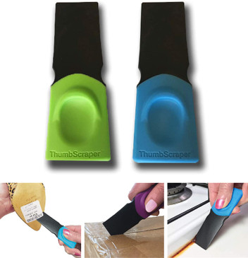 FusionBrands Thumb Scraper Tool – Save Your Manicure – A Multi-Use Plastic Scraper, Ideal for Removing Price Stickers, Tags, Wax, Grime, Gum and More – Nylon with Non-Slip Grip