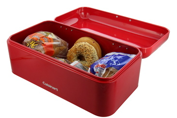 Cuisinart Metal Bread Box for Kitchen Countertop – This Bread Bin is Ideal for Bread Storage – Keeps Bread Fresh Longer, Stainless Steel with Hinge Design – Red, Measures 16.5 x 9 x 6.5 Inches