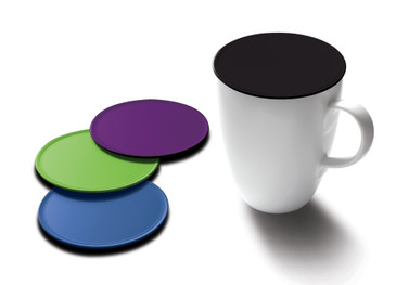 Drink Tops Tap and Seal Coffee and Tea Covers- Gently Suctions to Mugs to Keep Drinks Warmer Longer and Reduce Splashing- BPA Free Silicone Coffee Mug Cover- 4pk