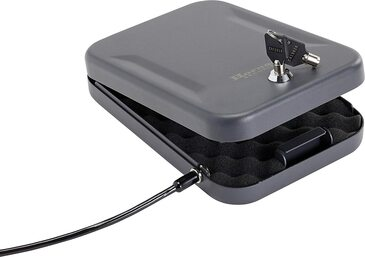 Hornady Portable Lock Box for Guns and Valuables - Includes 2 Keys and 4 Foot Steel Cable - Thick 16 Gauge Steel - An Ideal Portable Car Lock Box or Truck Safe - Large, Black, 9.5 x 6.5 x 1.75 Inches