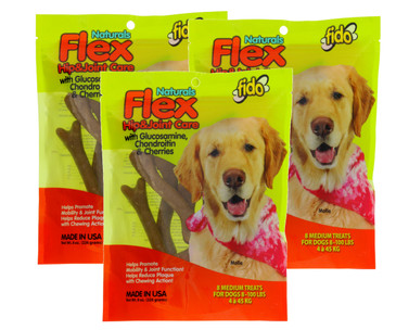 Fido Flex Hip and Joint Care Bones For Dogs, Made With Glucosamine, Chondroitin, and Cherries - Promotes Mobility, Joint Function, and Naturally Reduces Plaque - 8 Medium Treats