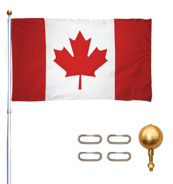 Titan Telescoping Flag Poles – Heavy Duty Flag Pole Kit, Includes Aluminum Telescoping Flag Pole, Canadian Flag, Hardware for 2 Flags and Detailed Installation Instructions