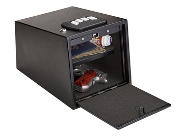 SnapSafe Gun Keypad Vault – Keypad Handgun Vault Safe, Compartment for Pistols and Valuables – 4-6 Keypad Entry with Backup Keys – Black