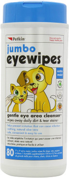 Petkin Jumbo Pet Eye Wipes, 80 Extra Moist Wipes - Natural Formula Gently Removes Dirt, Discharge, & Tear Stains - Safe, Convenient, & Easy to Use Pet Wipes for Dogs, Cats, Puppies & Kittens