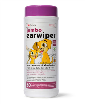 Petkin Jumbo Pet Ear Wipes, 80 Extra Moist Wipes - Soothing & Deodorizing Pet Ear Cleaner to Remove Dirt, Odor, & Wax-Safe, Convenient, & Easy to Use Pet Wipes for Dogs, Cats, Puppies & Kittens