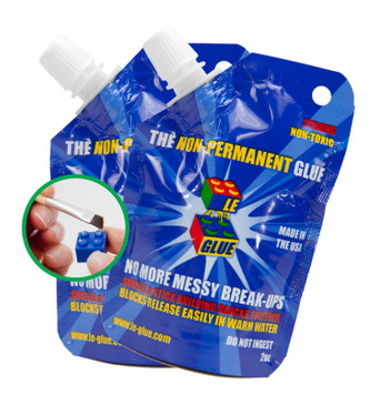 Le Glue Temporary Glue, 2 Pack – Non-Permanent Adhesive for Plastic Building Blocks, No More Messy Break-Ups – Safe, Non-Toxic Formula – As Seen on Shark Tank, Created for Kids, by a Kid