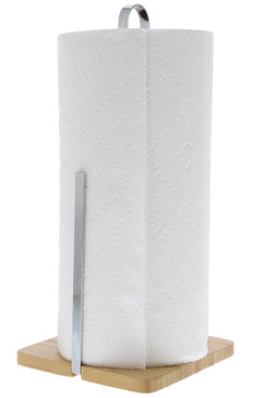 Cuisinart Stainless Steel Paper Towel Holder with Solid Bamboo Base, Stainless Steel Arm for Tear Assistance, Countertop Paper Towel Dispenser, Fits Any Size Kitchen Towel Roll