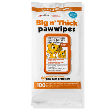 Petkin Big N' Thick Paw Wipes, 100 Orange Scented Wipes - Heavy Duty Pet Paw Wipes Remove Daily Dirt & Odors - Enriched with Soothing Paw Balm - Easy to Use Pet Wipes for Dogs, Cats, Puppies & Kittens