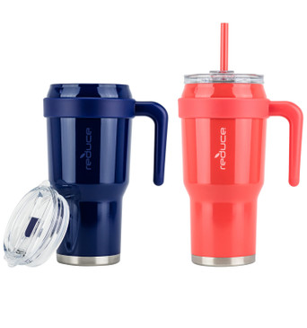 Reduce Mug – 40 oz Tumbler Mug With Straw, Lid and Handle, 2 Pack – 34 Hours Cold, Vacuum Insulated Sweat-Proof Body – Large Insulated Mug for Cold and Hot Drinks