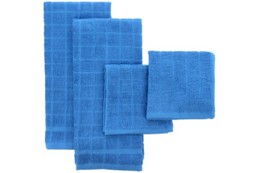 Bamboo Kitchen and Dish Towels, A Matching Towel Set by The Firefly Collection – 4 Pack, Windowpane Check – Ultra Absorbent, Anti-Microbial, Stylish and Practical