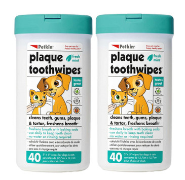 Petkin Plaque Toothwipes, Fresh Mint Wipes - Natural Formula Cleans Teeth, Gums & Freshens Breath - Convenient, & Easy to Use Oral Care Dental Pet Wipes for Dogs, Cats, Puppies & Kittens