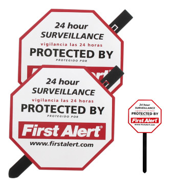First Alert Video Security Surveillance Yard Sign, 2 Pack - Durable, Weather Resistant Video Surveillance Sign to Deter Intruders- with Yard Stake