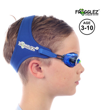 Frogglez Kids Swim Goggles with Pain-Free Strap   Ideal for Ages 3 – 10 in Swimming Lessons   Leakproof, No Hair Pulling, UV Protection   Swimming Goggles for Kids Recommended by Olympic Swimmers