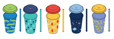 Reduce GoGo's – 12oz Cups with Straws for Kids – Kids Cups with Lids and Straws are the Perfect Toddler Tumbler – Dishwasher Safe, Fun Designs – An Ideal Kids Smoothie Cup