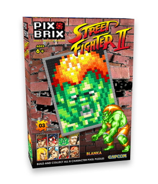 Pix Brix Street Fighter II Pixel Puzzle Bricks – Build Your Favorite Street Fighter – Includes 768 Pieces Plus Color Coded Template with Background Story – No Water, Iron or Glue